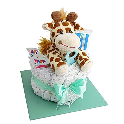 Windeltorte.com – Giraffe klein | Windeltorte in Grün - inkl. 14 LILLYDOO Windeln | Geschenk zur Geburt | Taufgeschenk | Geschenk zur Babyparty – handgefertigt