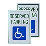dojune-2 Pack Handicap Parking Sign, with Picture of Wheelchair Sign Easy to Mount Weather Resistant