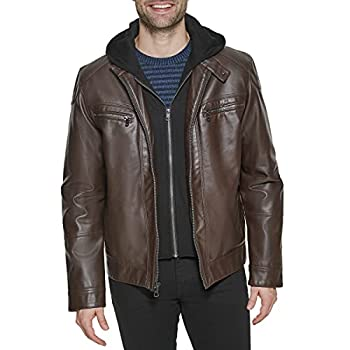 leather jacket with hoodie