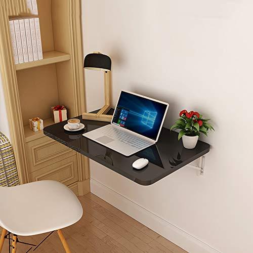 GSKD Schwarz Wandklapptisch Schreibtisch Klappbarer Esstisch Computertisch Für Kleine Räume Größen 40/50/ 60/70/ 80/90/ 100/ 120cm