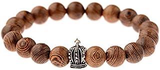 JKL-ZC Couple bracelet Men'S 10Mm Wood Beads Bracelet Metal Crown Peace Symbol Turtle Bracelet