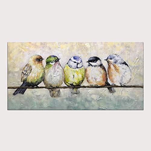 SHYHSCLBD Pintura Al Óleo Pintada A Mano,100% Pintado A Mano Pared Arte Imágenes Minimalista Lindo Animal Pájaro Hecho A Mano Óleo Pintura En Lienzo para La Vida De La Casa Decoración, 50×100Cm