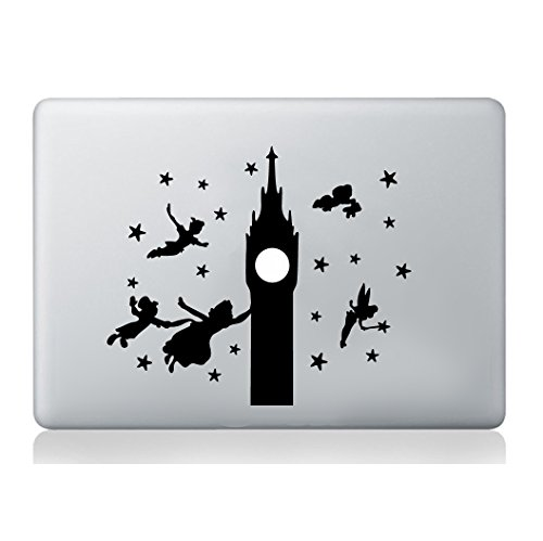 Peter Pan Big Ben Etiqueta engomada de la silueta Macbook Laptop Decal Vinilo Piel Mural Art Macbook Laptop Decal Vinilo Piel Etiqueta Silueta Mural Art Graphics Pet
