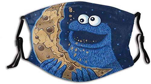 Cloth Face Mask Washable Cookie Monster Moon Face Face Covering Pm2.5 Mouth Mask Reusable Printed B07