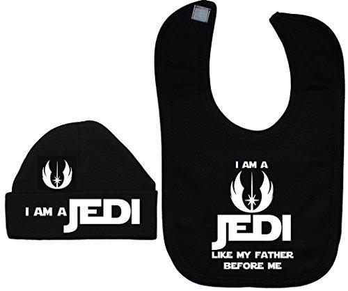 Je suis un Jedi comme Mon Père avant Me Baby Bavoir et bonnet/Casquette 0 à 12 mois - Noir - XXS