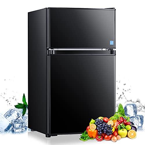 Mini Fridge with Freezer, 3.1 Cu.Ft Refrigerator 2 Doors, Unique Shelf...