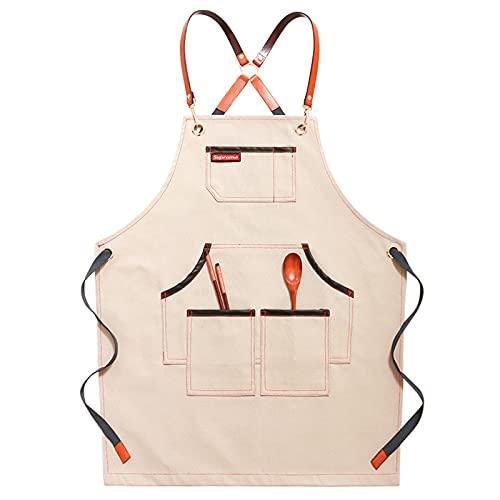 Küchenschürze für Frauen mit Taschen, unglaubliche Canvas-Denim-Stoff-Schürzen für Männer, ein Muss Ihre Grillwerkzeuge Schürze Lätzchen für Großes Dienstprogramm für Server-Schürzen,Beige,One Size