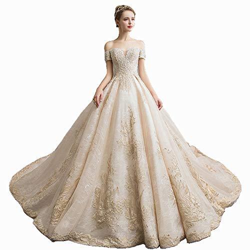 IOIOA Brautkleid Europa und Amerika One Shoulder Bride Long Trailing Brautkleid Wedding - Champagne,Short,M