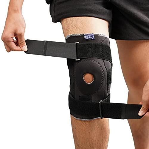 1 par de almohadillas de la rodilla de gimnasio con gimnasio, almohadillas de rodilla ajustables con almohadillas de rodilla de estabilizador ortopédicas de bisagra flexibles internas para almohadilla