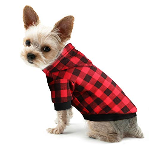 Blaoicni Plaid Dog Hoodie Sweatshirt Sweater for Small Dogs Cat Puppy Clothes Coat Warm and Soft(S)