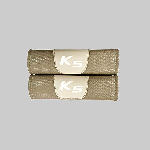 ZXCV 2 Fundas Coche Almohadillas Cinturón Fibra Carbono, para Kia K5 Hombro Correa Protector Seguridad con Logo Auto Interior Accesorios
