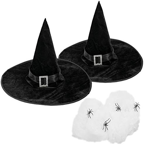 LOVEETA Adult Witch Hats for Women - Wicked Witch Costume Mcgonagall Wizard Hat with Halloween Decorations Spiderweb and Plastic Spiders, Black Witch Hat (2 Pack)