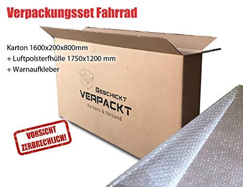 Verpackungsset Fahrrad - Karton 1600x200x800 mm, Luftpolsterfolie, Warnaufkleber