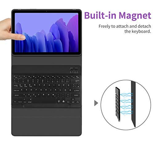 EasyAcc Tastatur Hülle Kompatibel mit Samsung Galaxy Tab A7 10.4 2020 SM-T500/SM-T505, Beleuchtete Tastatur Magnetische Kabelloser Bluetooth Abnehmbare Deutsche QWERTZ Schutzhülle, Schwarz