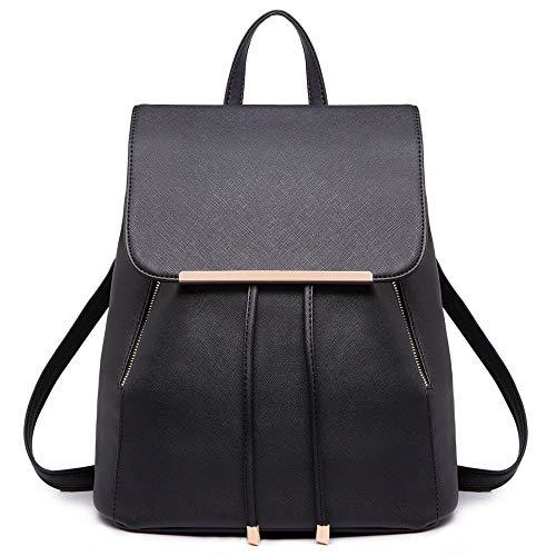 Miss Lulu Fashion Saffiano PU Leder Satchel Rucksack Reisetasche Schultaschen für Mädchen Frauen (schwarz)