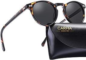 Carfia Retro Round Polarized Sunglasses for Men Women UV400 Protection Sport Outdoor Sunglasses 5288