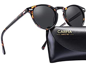 88cf85419c  23 Carfia Polarized Sunglasses for Women Vintage Round Glasses UV400  Protection (Tortoise Frame Grey Lens