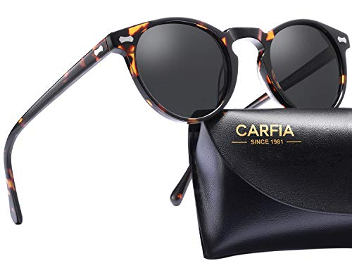 Carfia Gafas de sol polarizadas redondas para hombre y mujer, 100% protección UV con montura TR91