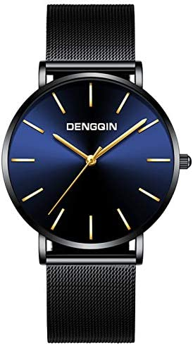 Watch for Men Luxury Dress Quartz Watch Mens Black Dial Stainless Steel Date Sport Wrist Watch product image