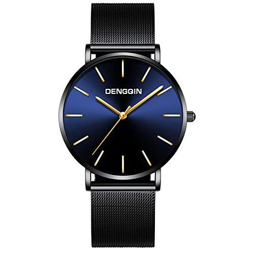 Watch for Men Luxury Dress Quartz Watch Mens Black Dial Stainless Steel Date Sport Wrist Watch (C)
