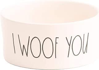 Rae Dunn I WOOF You Medium Ceramic Pet Dog Water Bowl - White
