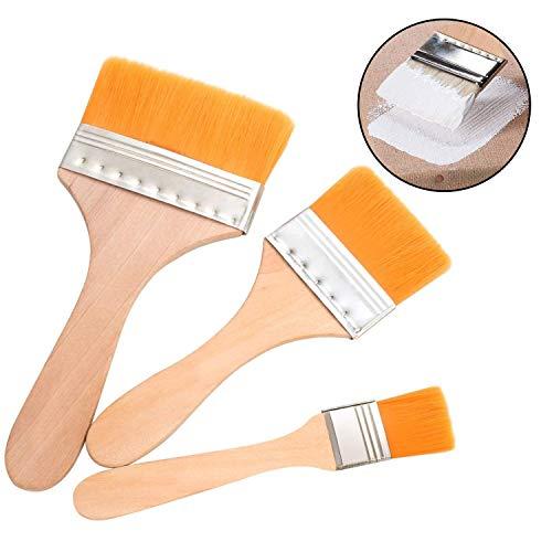 Starast Pinsel-Set für Acrylfarbe, Leinwand, Gesso, Wasserfarben, Verglasungen, Wand, Möbelfarben, 3 Stück