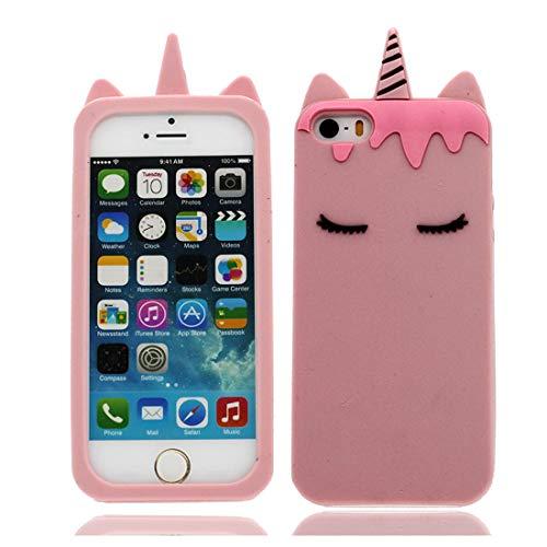 EarthNanLiuPowerTu 3D Dibujos Animados para Unicornio iPhone 5 5S SE 5C 5G Carcasa, iPhone 5 5S SE 5C 5G Funda TPU Elegante Flexible Cover Niñas Mujeres a Prueba de Golpes Unicorn Case (Rosado)