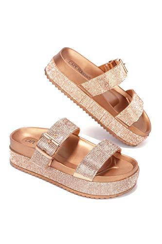 Cape Robbin Praise Platform Strappy Rhinestone Sandals for Women, Comfortable Flat Sandals, Womens Slip On Flatform Sandals - Rose Gold Size 10