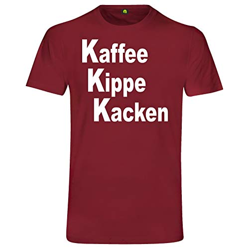 Kaffee Kippe Kacken T-Shirt   Guten Morgen   Arbeit   Zigarette   Kater Alkohol Bordeaux Rot M