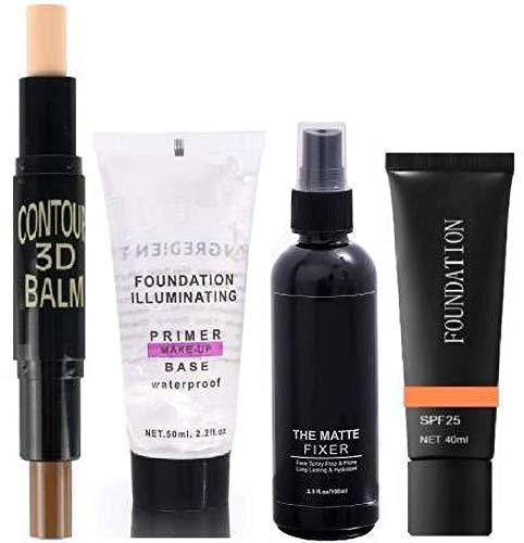 MYN Professional's Face Makeup 1 Primer, 1 Fixer, 1 Contour Balm, 1 Luxury Foundation Combo
