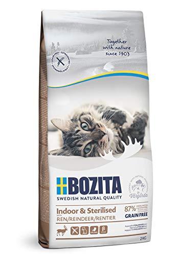 BOZITA Indoor & Sterilised Getreidefrei mit Rentier - Trockenfutter für erwachsene hauptsächlich drinnen lebende Katzen, 2 kg