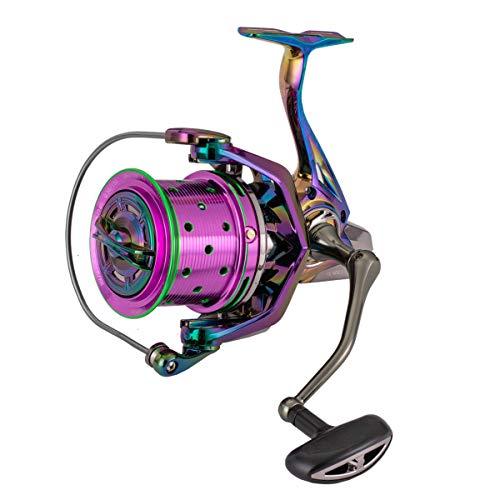 Diwa Spinning Fishing Reels 60 LBS Max Drag Power Cojinete de acero inoxidable Cuerpo de metal 8000 10000 12000 Carrete Agua dulce Agua salada Big-Game Surf Carrete giratorio ultra suave (8000)