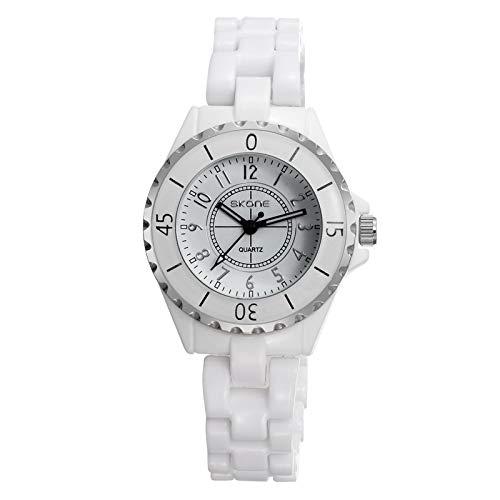 CXJC Reloj de cerámica Blanca de Las señoras de la Moda, Reloj Femenino Femenino 3ATM, shi Ying, Oro, Oro, Oro, Oro, (Color : UN)
