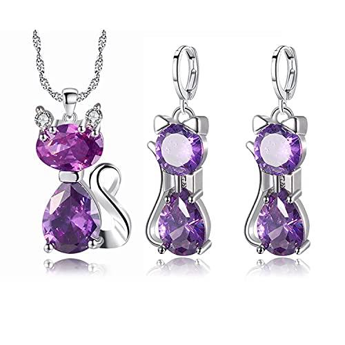 SIMIN Conjunto de joyas para mujer, Conjunto de Collar Pendientes con Circonitas incluye bolsa de joyería, regalo para mujer y niña (púrpura)