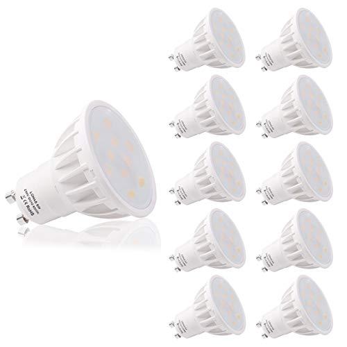(10er Pack Cool weiß) LOHAS® 6Watt GU10 LED Lampen, Ersatz für 50Watt Halogenlampen, 500LM, 6500K, 120 Grad Abstrahlwinkel, LED Birnen, LED Leuchtmittel