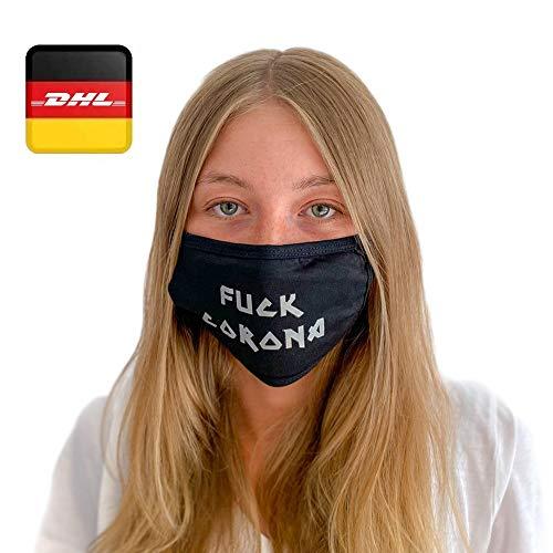 Decade Atemmaske Behelfsmaske Alltagsmaske Maske - Farbe schwarz Größe M - mehrfach verwendbar (waschbar) – inkl. 2 herausnehmbare Filter - Mundbedeckung Spuckschutz