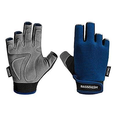 Bassdash Astro Heavy-Duty Sure Grip Fishing Cycling Gloves Men's Women's Fingerless Gloves for Game Fishing Kayaking Paddling Sailing MTB (Navy Blue, L)