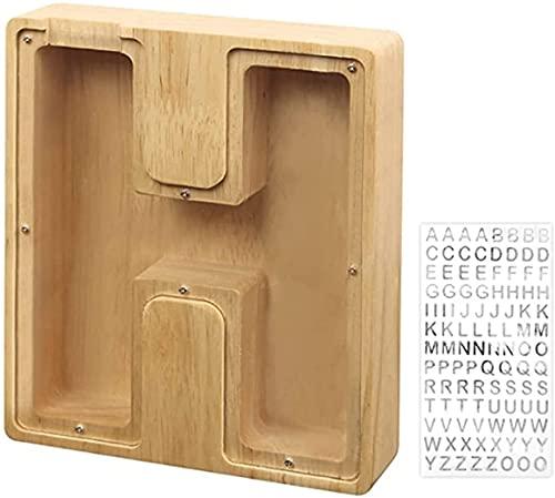 Fisecnoo Kinder Sparschwein personalisierte benutzerdefinierte hölzerne Piggy Bank hölzernes geldgefäß 26 Buchstaben des Alphabet hölzernen Geldgefäß-Handwerksverzierungen (Color : H)