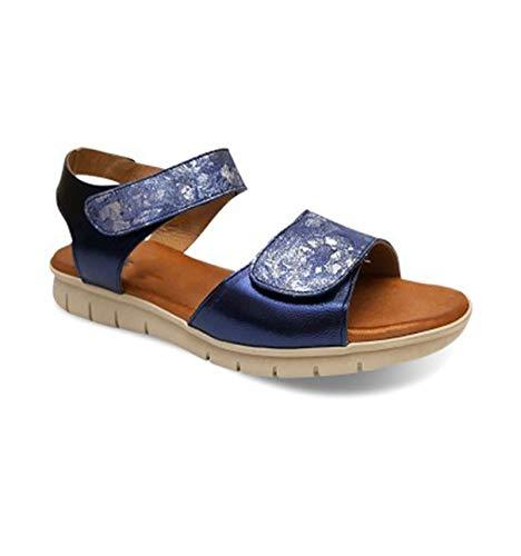 Sandalia Mujer de Piel Fabricados en España. Disponible Desde la Talla 36 hasta la Talla 41 - Finita Shoes Modelo AW750 Color Negro,Marino,Rojo y Platino.