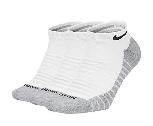 Nike Dry Cushion No-Show - Calzini da allenamento (3 paia), Uomo, Bianco/Heather/Nero, Large