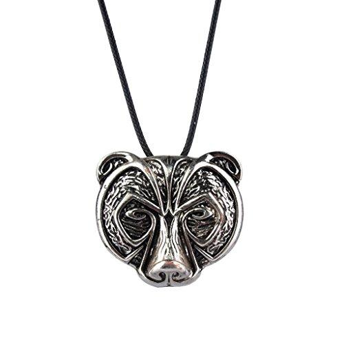 MagiDeal Unisex Halskette Bärenkopf Stil Anhänger mit Lederschnur Seil Modeschmuck Geschenk