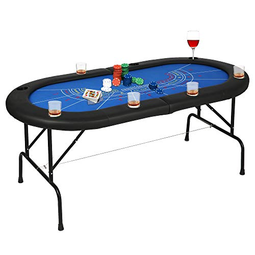 Poker Table Folding Easy to Store & Carry, w/Padded Rails & 8 Cup Holders, 8 Player for Texas Casino Leisure Game, No Assembly Required