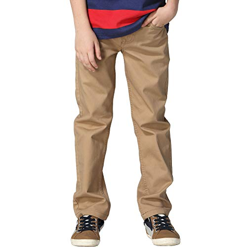 Leo&Lily Boys Kids 100% Cotton Twill Elastic Waist Regular Fit Pants Trousers (Khaki,12) LLB439