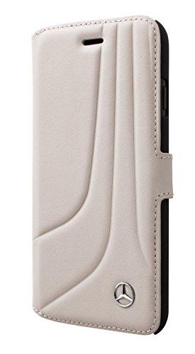 'Mercedes meflbkp7lhlcagr Bow II Genuine Piel Book Type Funda para Apple iPhone 7Plus Crystal Gris