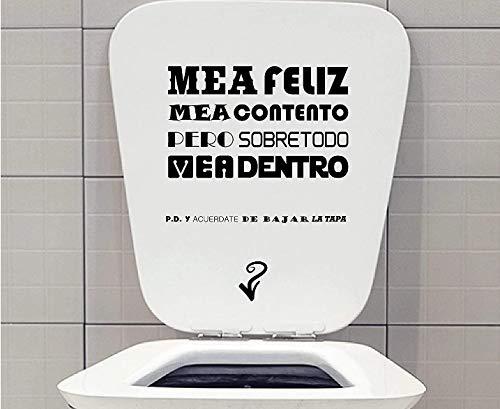Vinilo decorativo pegatina WC pack para el baño, frase COLOR NEGRO + Regalo Adhesivo SPILARTS Marca Registrada