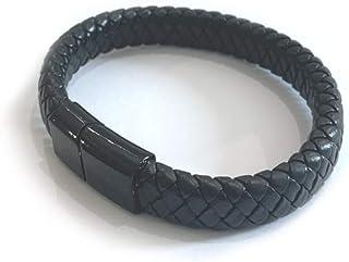 Black Leather Bracelet Handmade Multilayer Stainless Steel Magnetic Bracelet Men Jewelry