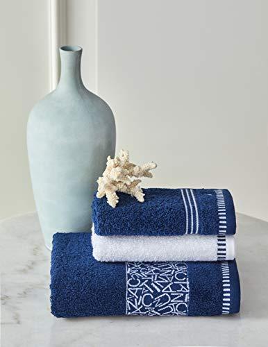 Nautica Juego de toallas azul marino, 100% algodón, 500 g/m², 30 x 50 x 2 + 50 x 90, absorbentes, suaves y duraderas (3 unidades)