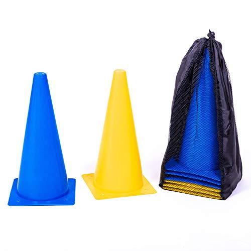 8LevelUp Pylonen 8er Set - 30 cm Hütchen (4 gelbe und 4 Blaue Kegel - flexibel, sicher und robust) mit Tasche für Fußball, Reitsport, Hundetraining, Pferdetraining, Agility Training für Hunde