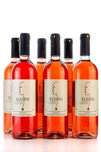 6x Kleoni Rosewein trocken Lafkiotis je 750ml + 2 Probier Sachets Olivenöl aus Kreta a 10 ml - griechischer Rose Wein fruchtig Tafelwein Griechenland Wein Set