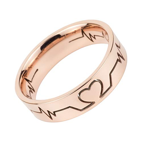WDSHOW Heartbeat Rings Rose Gold for Women Size 8